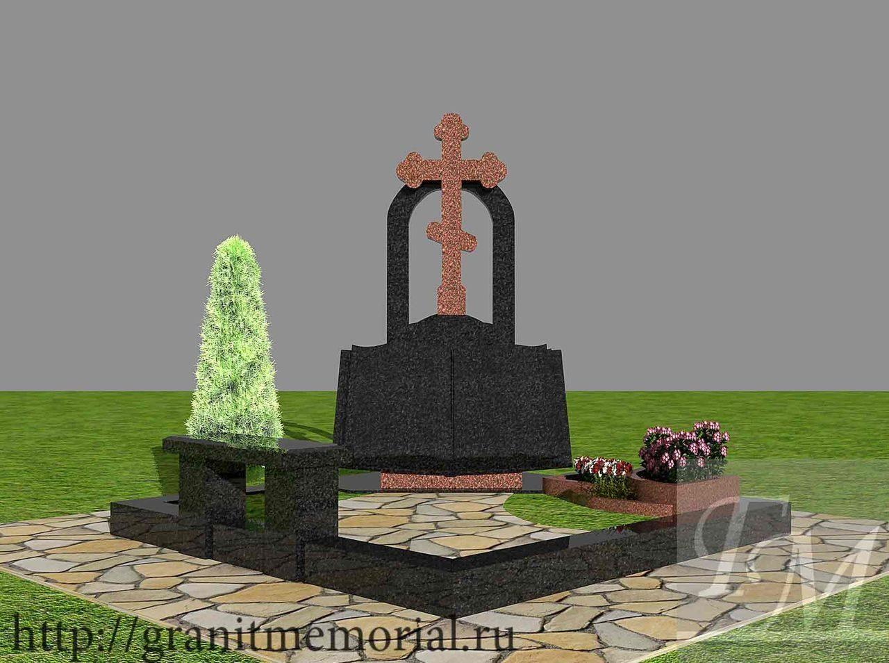 Мемориальный комплекс из двух видов гранитов Пикалево